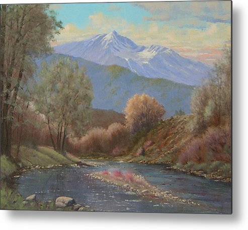 Landscape Metal Print featuring the painting 060630-1814 The Land Awakes In Spring  by Kenneth Shanika