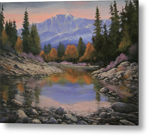 Landscape Metal Print featuring the painting 080120-1814 October View - Pikes Peak by Kenneth Shanika