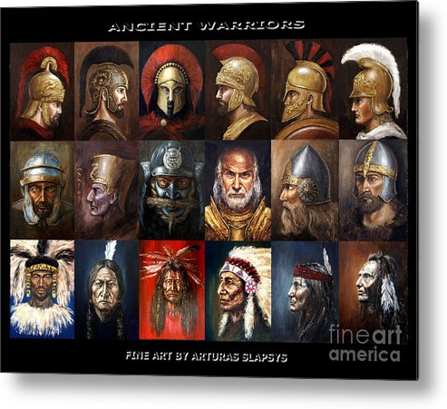 Warriors Metal Print featuring the mixed media Ancient Warriors by Arturas Slapsys
