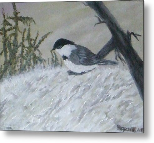 Chickadee Metal Print featuring the painting Chickadee by Rebecca Fitchett
