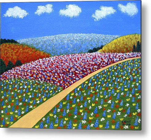 Landscape Paintings Metal Print featuring the painting Hills Of Flowers by Frederic Kohli
