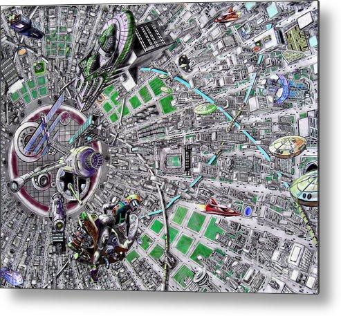 Landscape Metal Print featuring the drawing Inside Orbital City by Murphy Elliott