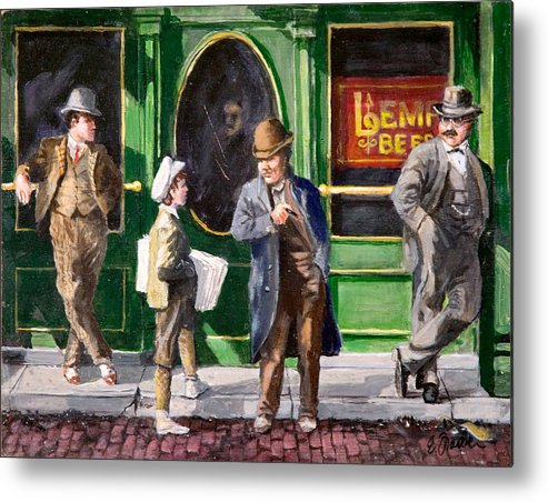 City Scenes Streetscape  Circa1900  Tavern Lempbeer Paperboy  Oldst.louis  Cobblestones Metal Print featuring the painting Lemp Beer by Edward Farber