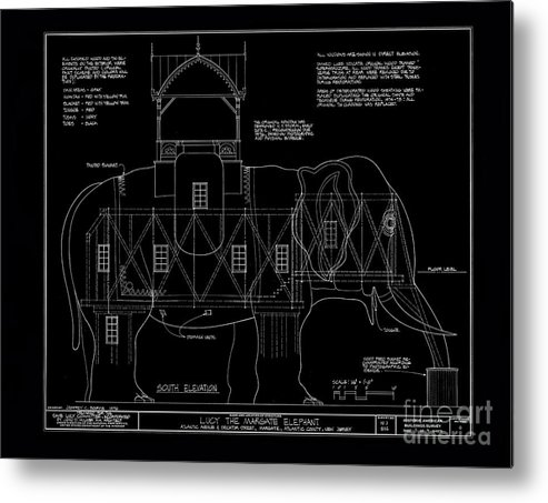 Lucy the elephant building patent blueprint metal print by edward lucy metal print featuring the photograph lucy the elephant building patent blueprint by edward fielding malvernweather Images