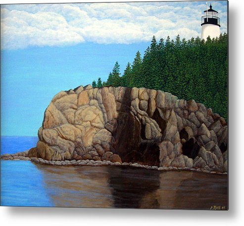 Lighthouse Paintings Metal Print featuring the painting Owls Head Lighthouse by Frederic Kohli