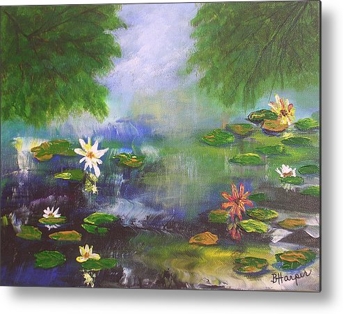 Flower Metal Print featuring the painting Water Lily Pond by Barbara Harper