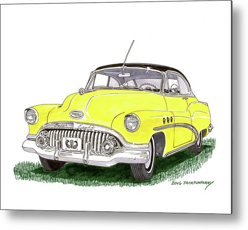 Watercolor Painting Of A 1952 Buick Special Metal Print featuring the painting 1952 Buick Special by Jack Pumphrey