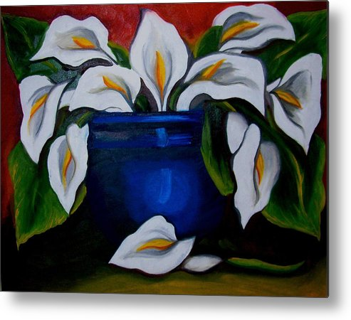 Calla Lilies In Blue Pot Metal Print featuring the painting Calla Lilies by Misty VanPool