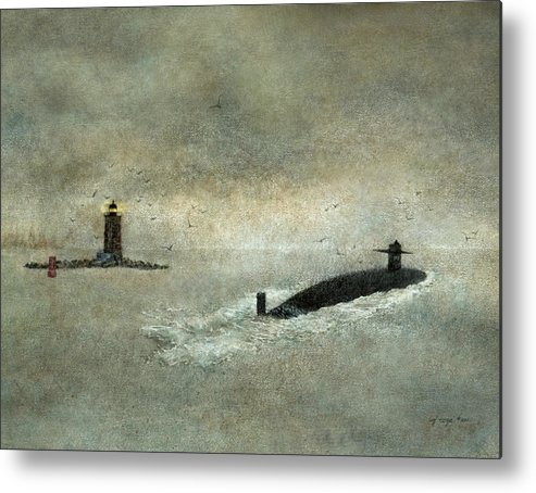 Submarine Metal Print featuring the painting Eternal Patrol by Lizbeth Maxson-McGee