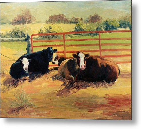 Cows Metal Print featuring the painting 5 O Clock Cows by Kim Corpany