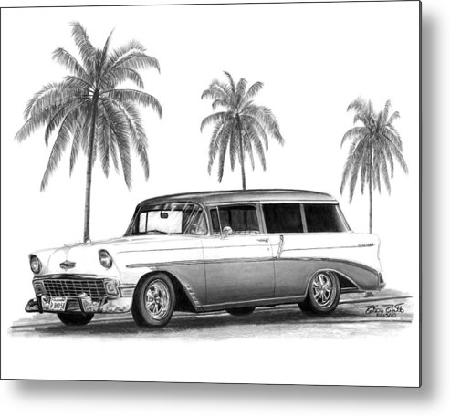 1957 Chevrolet Wagon Metal Print featuring the drawing 56 Chevy Wagon by Peter Piatt