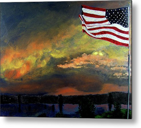 Landscape Metal Print featuring the painting 9-11 by Stan Hamilton