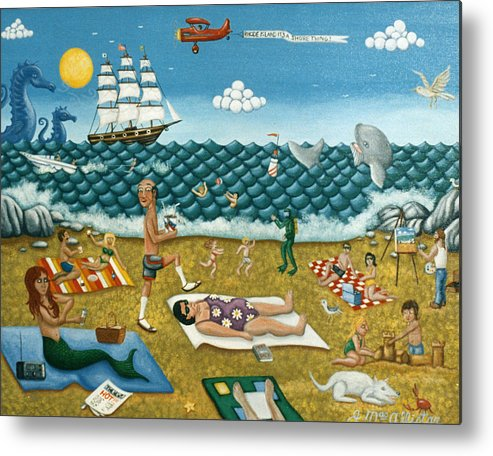 Folk Art Metal Print featuring the painting A Day At The Beach Missquamicut Rhode Island by Joshua Mac Allistar
