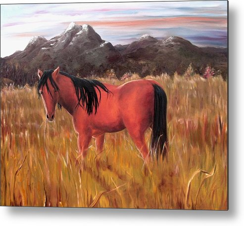 Horses Artwork Metal Print featuring the painting A Horse Of Course by Diane Daigle