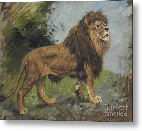 a lion walking metal print by motionage designs