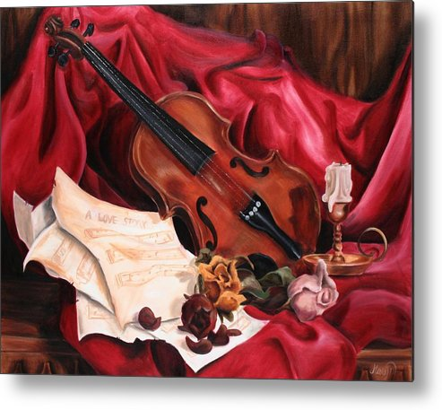 Violin Metal Print featuring the painting A Love Story by Maryn Crawford