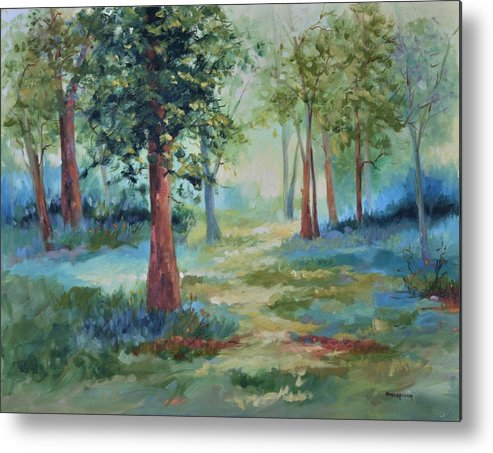 Trees Metal Print featuring the painting A Path Not Taken by Ginger Concepcion