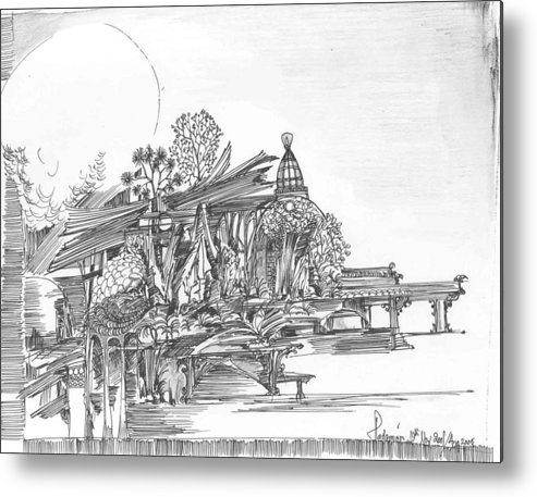 Landscape Metal Print featuring the drawing A Temple A Building And Some Trees by Padamvir Singh