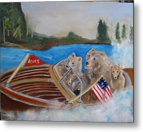 Lake Metal Print featuring the painting A Very Beary Fun Lake Day by Colleen DalCanton