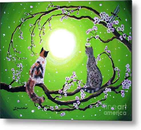 Zen Metal Print featuring the painting Abby And Caesar In The Spring by Laura Iverson
