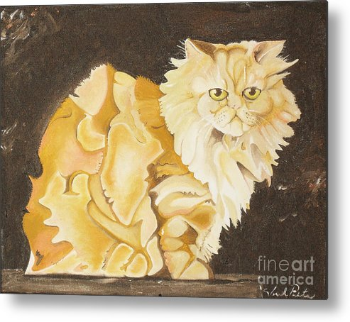 Cat Metal Print featuring the painting Abstract Cat by Joseph Palotas