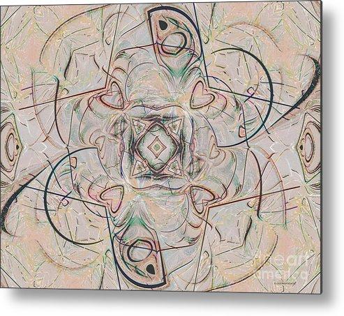 Digital Metal Print featuring the digital art Abstract With Hearts by Deborah Benoit