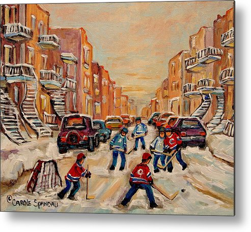After School Hockey Game Metal Print featuring the painting After School Hockey Game by Carole Spandau