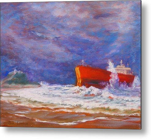Pasha Bulker Tanker Stranded On Nobby Metal Print featuring the painting After The Storm by Sue Linton