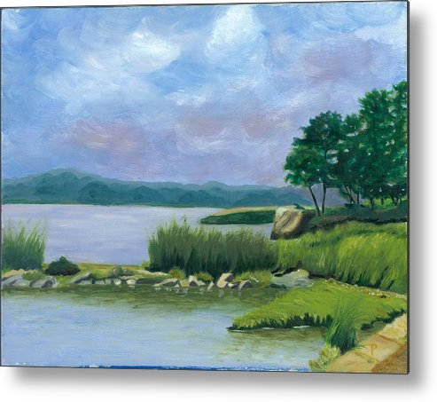 Seascape Metal Print featuring the painting Afternoon At Pilgrim by Paula Emery