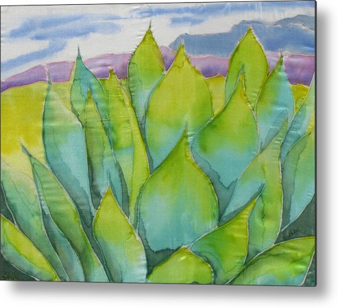Landscape Metal Print featuring the painting Agave by Kathy Mitchell