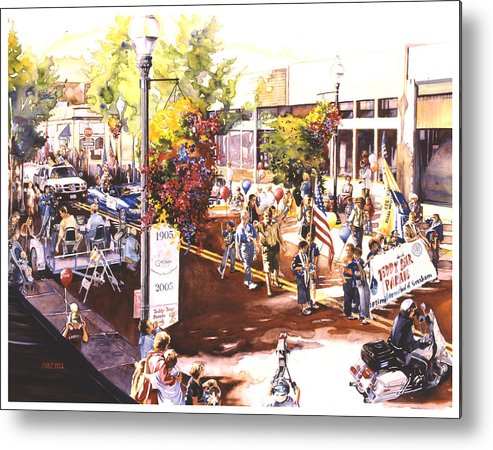 Parade Flags Old Glory Cub Boy Scouts Police Teddy Bear Celebration Patriotic Americana Metal Print featuring the painting America At Its Best by Mike Hill
