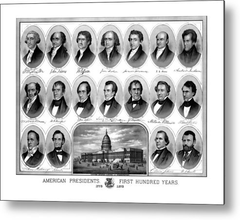 Us Presidents Metal Print featuring the mixed media American Presidents First Hundred Years by War Is Hell Store