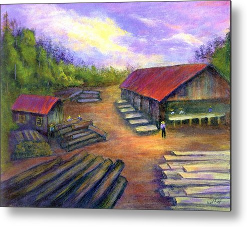 Amish Metal Print featuring the painting Amish Lumbermill by Gail Kirtz