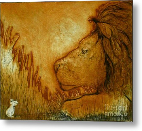 Animals Metal Print featuring the drawing An Understanding by Susan Clausen
