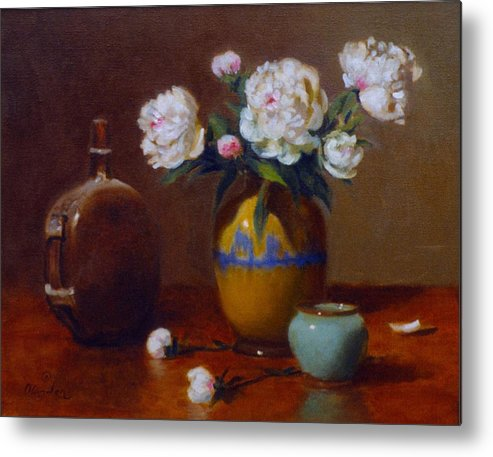 Still Life Metal Print featuring the painting Ancient Chinese Leather Canteen With Peonies by David Olander