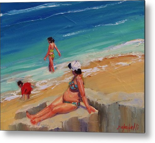 Beach Scene Metal Print featuring the painting And Baby Makes Three by Laura Lee Zanghetti