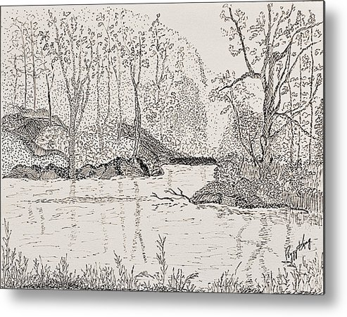 River Metal Print featuring the drawing Ausable River At Rock Glen by Peggy King