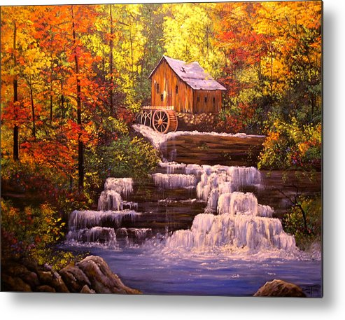 Connie Tom Metal Print featuring the painting Autumn At The Mill by Connie Tom
