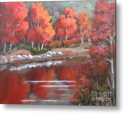 Landscape Metal Print featuring the painting Autumn Reflexions 2 by Marta Styk