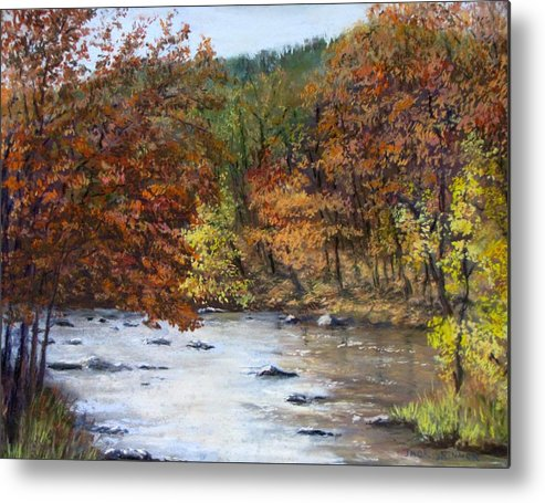 Autumn Metal Print featuring the painting Autumn River by Jack Skinner