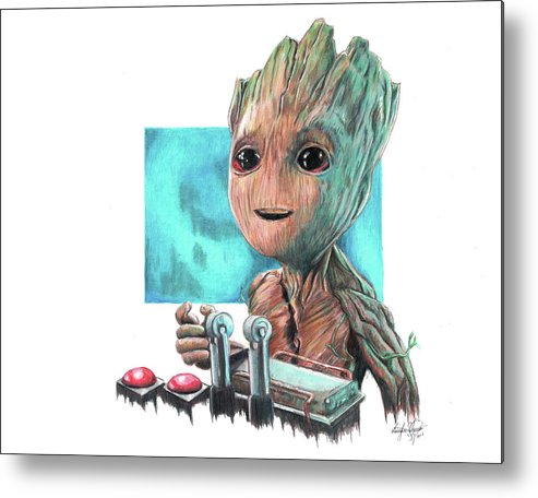 Baby Groot Metal Print featuring the drawing Baby Groot by Serafin Ureno