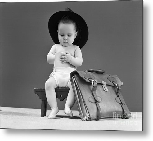 1940s Metal Print featuring the photograph Baby With Fedora And Briefcase e8787208764