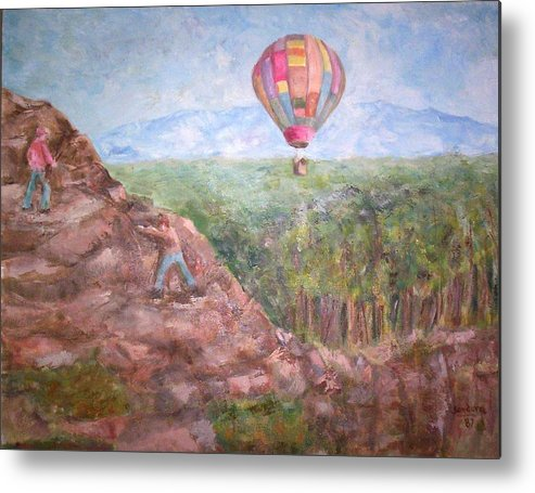 Landscape Baloon And Mountain Trees People Metal Print featuring the painting Baloon by Joseph Sandora Jr