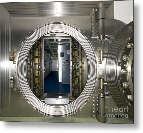 Architectural Metal Print featuring the photograph Bank Vault Interior by Adam Crowley