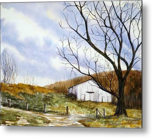 Barn Metal Print featuring the painting Barn At The Stage Stop by Travis Kelley