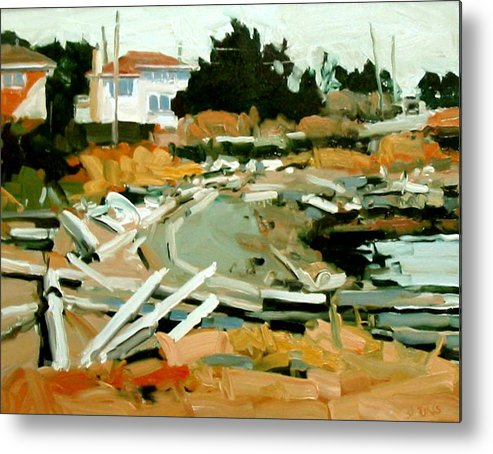 Beach Paintings Metal Print featuring the painting Beach Frontage by Brian Simons