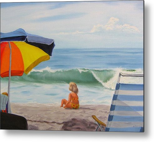 Seascape Metal Print featuring the painting Beach Scene - Childhood by Lea Novak