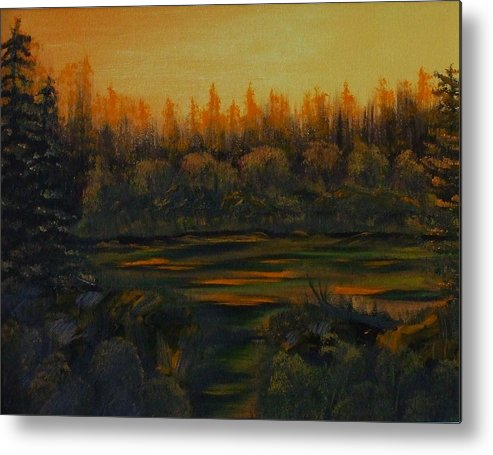 Landscape Metal Print featuring the painting Beaver Pond At Sunset by Rebecca Fitchett