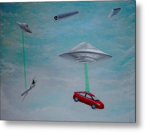 Ufo Alien Abduction Flying Saucer Disc Spacecraft Tractor Beam Prius Airplane Clouds Sky Metal Print featuring the painting Believe by Jimmy Carender