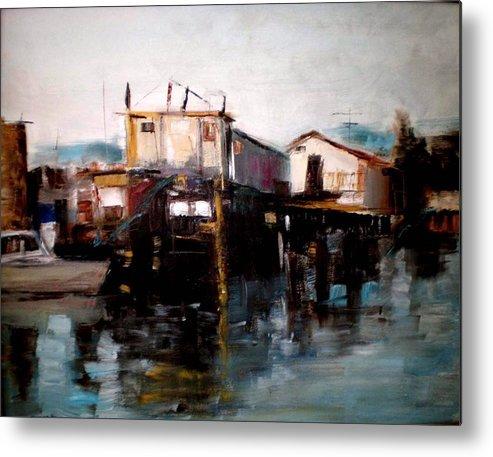 Water Metal Print featuring the painting Bellingham Boats by Renee Rowe
